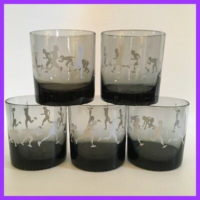 Vintage Running/Runner/Cross Country Drinking Glasses - Set Of 5