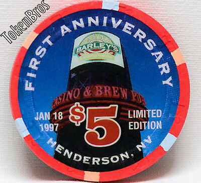 $5 Dollar Gaming Poker Chip Barley's Casino And Brew Pub Henderson Nevada 1997
