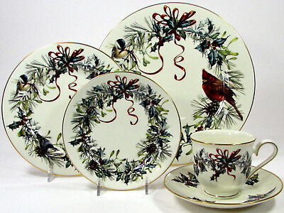 Lenox WINTER GREETINGS 5Pc Place Setting Dinner Salad Bread Plate Cup Saucer MIB
