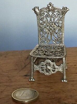 CHAISE MINIATURE NAPOLEON III ARGENT MASSIF GOTHIQUE 19th SILVER CHAIR BIRD