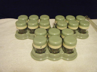 SIX BABY BULLET STORAGE JARS IN TRAY WITH DATE DIAL. Very Clean