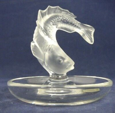 Lalique France Frosted Crystal Leaping Fish (Pisces) Ring Dish