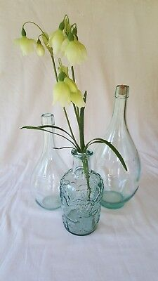 Vintage/Antique Bottle Trio - Light Teal/Green Glass - Decor- Collect