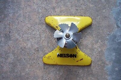 Vintage Nelson Yellow Square Spray Metal Lawn Sprinkler Older Model Tested