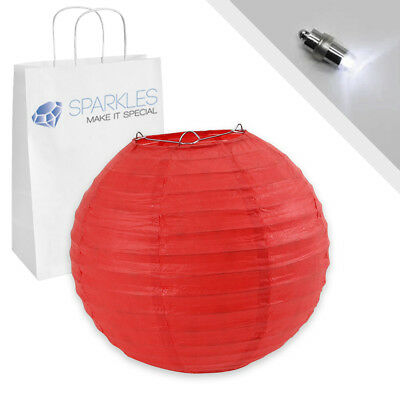 """10 pcs 6"""" inch Chinese Paper Lantern - Red - w/ LED Lights - Wedding Party nb"""