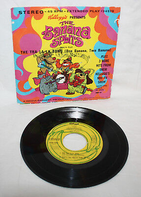 THE BANANA SPLITS RECORD + SLEEVE Kellogg Cereal Premium Vintage TV 45 RPM Tra