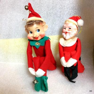 2 Vinatge Red Leg-Huggers Shelf Sitters Elf with Long Nose and Jolly Santa Japan
