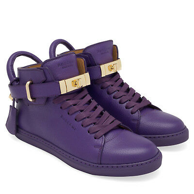 e8d5a78ecb30 BUSCEMI Purple Leather 100MM Gold Buckle Strap Lock Women Sneakers Shoes 36  NEW