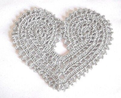 Crochet doily, Silver heart, Sparkling lace coaster, Festive decoration, Gift