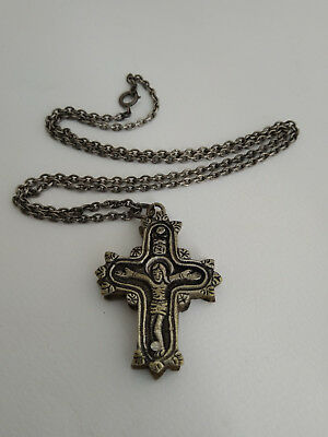 Antique Encolpion Byzantine Silver Orthodox Pectoral Reliquary Cross 16th