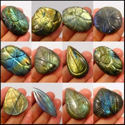 100% Natural Hand Carved Blue,Yellow,Green Flashy Labradorite 15026-46,18220-229