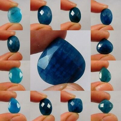 Natural Dyed Faceted Blue Sapphire Cut Gemstone AQ577-615,W491-536