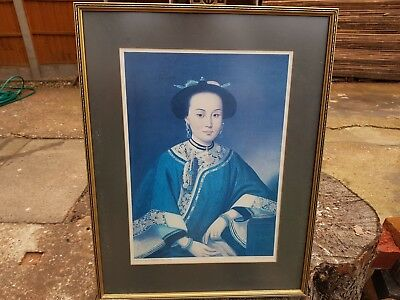 Vintage Chinese Picture-Portrait Of A Chinese Girl C1750