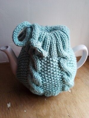 Hand knitted duck egg blue aran cabled teapot cover tea cosy - FREE P&P