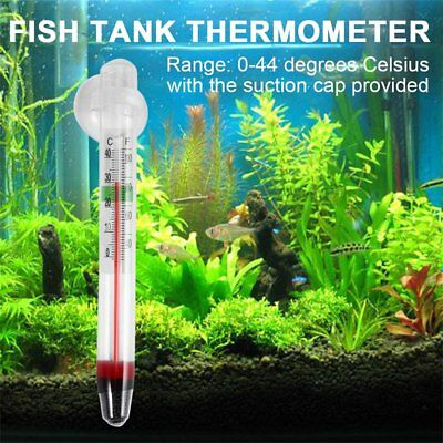 Glass Meter Aquarium Fish Tank Water Temperature Thermometer With Suction Cup S#
