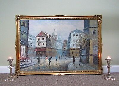 A LARGE BEAUTIFUL ORIGINAL 20thc IMPRESSIONIST PARISIAN CITYSCAPE OIL PAINTING