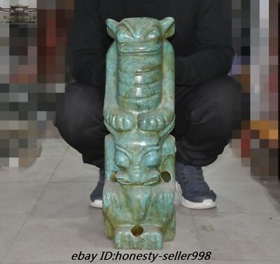 "24"" Huge Rare Hongshan Culture Old Green Jade Stone carved cicada Sun god Statue"