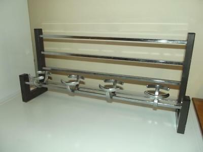 Vintage French modernist 50's chrome hat & coat rack hooks industrial Bauhaus