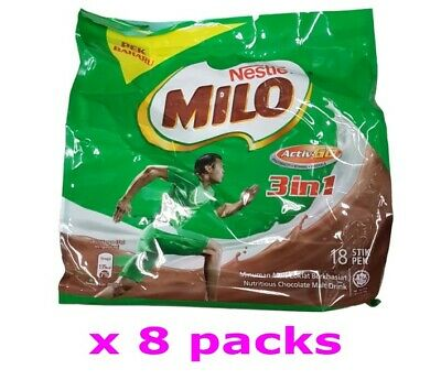 Nestle Milo Activ-Go 3 in 1 Nutritious Chocolate Malt Drink Powder 33g x144 stik
