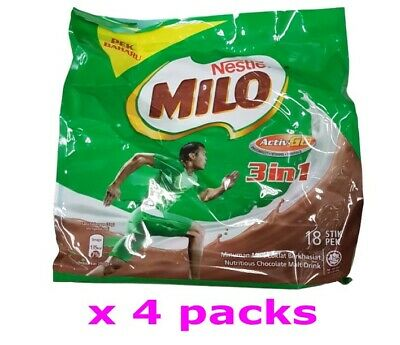 Nestle Milo Activ-Go 3 in 1 Nutritious Chocolate Malt Drink Powder 33g x 72 stik