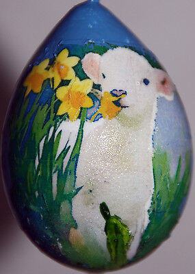gourd Easter egg or ornament with lamb, sheep