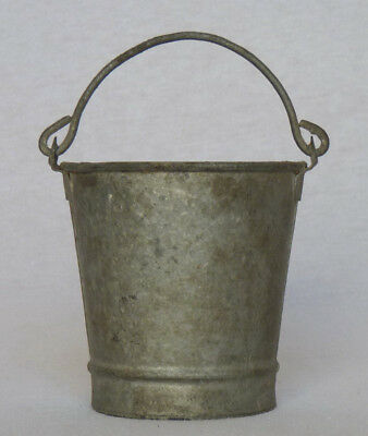 Charming Small Vintage Child's Toy French Galvanized Zinc Bucket w/ Handle
