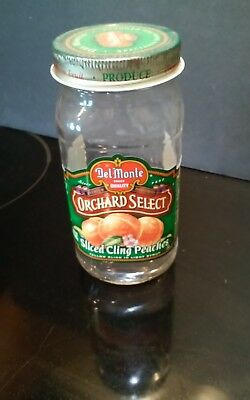 Vtg Del Monte Peaches Jar with label and metal lid 24 oz