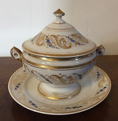 Antique 19th c. Old Paris Porcelain Tureen Urn Cover Under Plate Platter Sprig