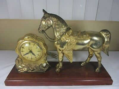 Vintage United Clock Co No.315 Brass Plated Horse Mantle Clock  ****WORKING****
