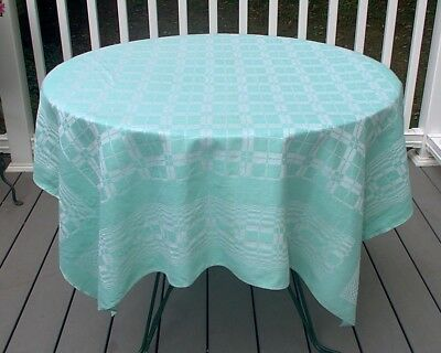 Vintage Teal Green White Plaid Damask Tablecloth