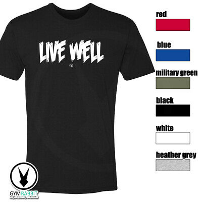 LIVE WELL Gym Rabbit T-Shirt Workout Gym BodyBuilding Fitness Lifting C136