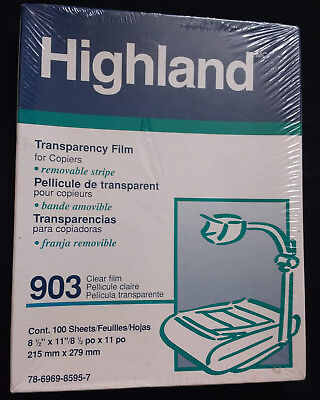 Highland Transparency Film for Copiers 903 Clear 100 Sheets 8 1/2 x 11 New
