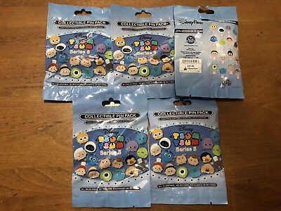 Disney TSUM TSUM SERIES #5 5 PACKS NEW 5-pin Collectible Mystery Pack Pins