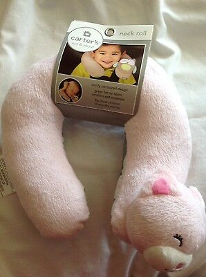 NEW Carter's travel head support neck roll pink bear NWT!
