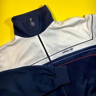 Vintage adidas Mens XL TREFOIL SPELL OUT Track Top Jacket 70s RUN DMC HipHop