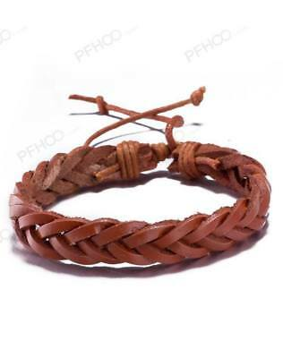 Mens Boys Handmade Leather Braided Surfer Wristband Bracelet BangleWrap UK SELER