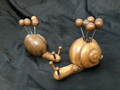Vintage Old Beautiful Decorative Wooden Set: Snail With 6 Small Forks!!