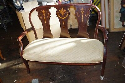 Antique Queen Anne Inlaid Wood Settee Upholstered