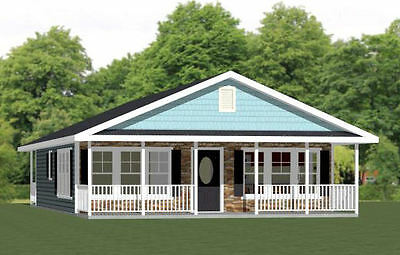 28x36 House -- 2 Bedroom 2 Bath -- PDF Floor Plan -- 1,008 sq ft -- Model 1A