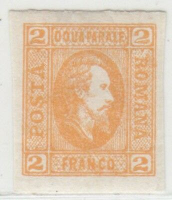ROMANIA 1865 ISSUE LAID PAPER 2 FR. UNUSED STAMP SCOTT 26 = MICHEL 11by