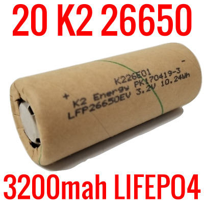 20 K2 Lifepo4 26650 Cells 3200Mah Lfp26650Ev Batteries Ebike Powerwall Ev Audio