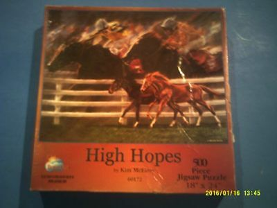"""500 Piece Puzzle """"High Hopes"""" Features Race Horses Thoroughbreds"""