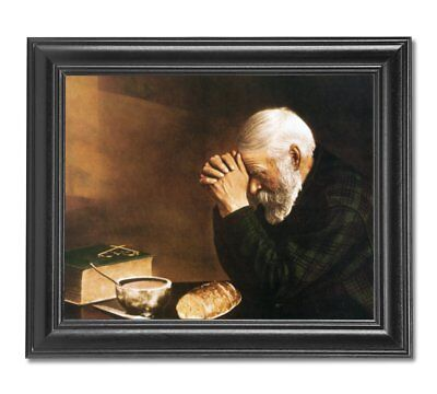 FRAMED Daily Bread Man Praying At Dinner Table Religious Wall Picture Art Print