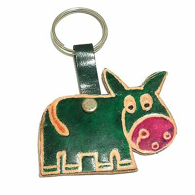 Hand Tooled Leather Shantiniketan India Cow Keyring Key Ring Keychain