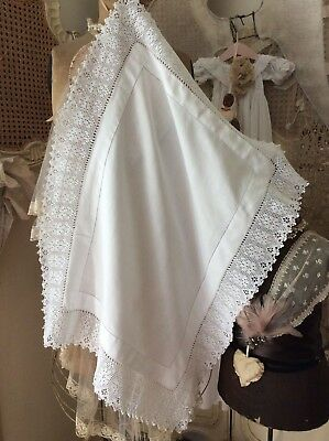 Antique French Chateau overlay Tablecloth~Pure Trousseau /Crochet Lacework~30x23
