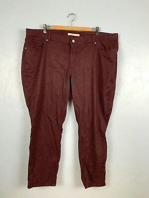 Levis Womens Plus Sz 24 711 Ankle Skinny Jeans Maroon Red Malbec Pants