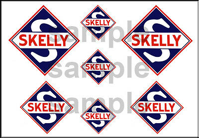 1 1/2 3/4 Inch Skelly Gasoline Model Gas Station Building Sign Decals Stickers