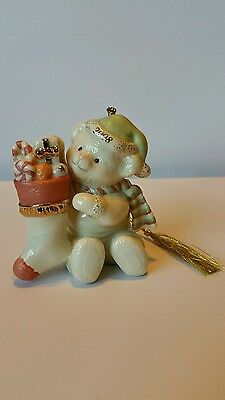 Lenox 2008 Annual Teddy Bear Teddy's Special Stocking Christmas Tree Ornament