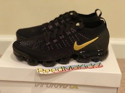 NIKE AIR VAPORMAX Flyknit 2 Black Metallic Gold womens sizes 942843 ... a8d6ff7e99