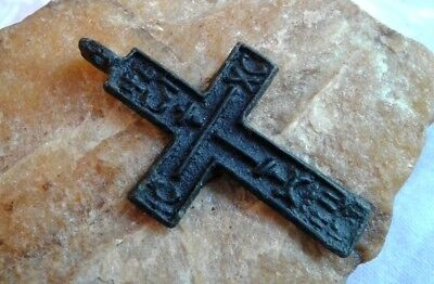 """UNIQUE 17-18th CENTURY RUSSIAN ORTHODOX """"OLD BELIEVERS"""" CROSS THE """"CREED"""" TEXT"""